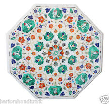 """15""""x15"""" Marble Coffee Table Top  Marquetry Inlay Work  Real Outdoor Decor H1768"""