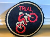 "Vintage 3.5"" Biker Motorcycle Trial Patch RARE Embroidered Iron On SEW ON"