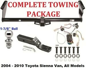 """Complete Trailer Hitch Package Fits 04-10 Toyota Sienna w/ Wiring & 1-7/8"""" Ball"""