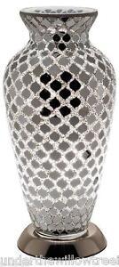 Fabulous Mosaic Glass Crackle Mirror Tile Vase Lamp