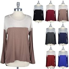 Two Tone Color Block High Low Hem Long Sleeve Casual Top Round Neck Easy Wear