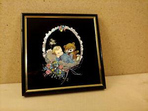 Baby and Teddy Bear in Basket Etched Foil Framed Nursery Print Kafka Ind.