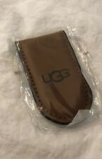 UGG AUTHENTIC LOGO BROWN LEATHER MAGNETIC MONEY CLIP FREE SHIPPING
