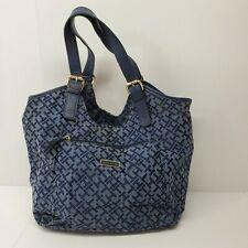 Tommy Hilfiger Blue TH Logo Purse Satchel Large Handbag Canvas