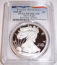 2018-W $1 PCGS PR70DCAM First Day of Issue Ribbon Silver Proof American Eagle!!