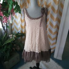 A'reve Reckless Angel Ladies L Sleeveless Cream Brown Lace Embellished Tunic Top