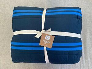 NEW Pottery Barn Teen Riverside Stripe Queen Comforter Royal Blue Navy