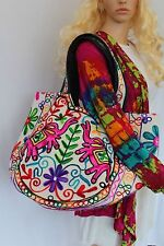 Hand Bag Large Multi colored Wool Thread Embroidery Shoulder Bag Summer Festival
