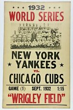 VINTAGE CHICAGO CUBS NY YANKEES 1932 WORLD SERIES ORIGINAL 14 x 22 POSTER