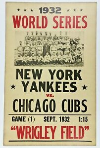 CHICAGO CUBS NY YANKEES 1932 WORLD SERIES POSTER 14 x 22 REPRO