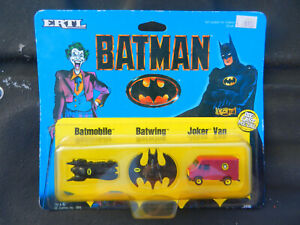 ERTL #2498 SET OF 3 BATMAN VEHICLES BATWING, BATMOBILE & PURPLE JOKER VAN MICRO