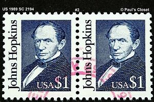 US 1989 JOHNS HOPKINS SC 2194 PAIR USED NO GUM HANDSTAMPED RED CNX F/VF #2