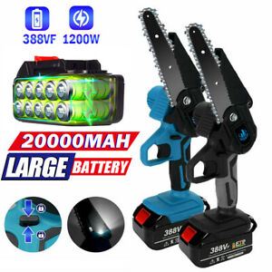 6''Cordless Electric Chainsaw 1200W Mini Wood Cutter Saw + Battery+ Charger UK