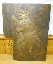 "Antique Bronze Plaque - Soldier - E.A. Kretschman 1875 - 19 1/4"" x 14 7/8"""