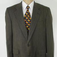 42 R Hickey Freeman Brown Herringbone Tweed Wool Mens Jacket Sport Coat Blazer
