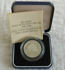 More details for iceland 1986 banknote 100th anniversary 500 kronur silver proof  - boxed/coa