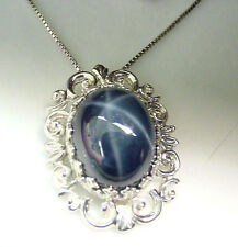 HUGE GENUINE STAR SAPPHIRE 16.23 CTS  SAPPHIRES  .925 STERLING PENDANT w/ CHAIN
