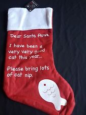 Christmas Accessories - Pet Christmas Stocking - Cat and Dog - Santa Paws