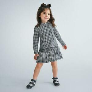 Mayoral Girls Houndstooth Long Sleeve Dress With Bow Detail (4990)