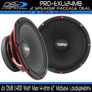 2x DS18 PRO-EXL124MB 12″ Midbass Speakers 1400W 4-ohm Loud Mid Bass Loudspeakers