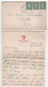 1918 USA Cover WARSAW NY to PENFIELD + Letter Content SCHERMERHORN Ithaca