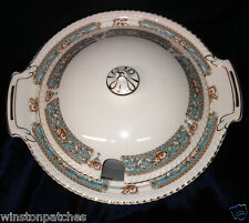 "JOHNSON BROTHERS HAMPTON ROUND COVERED TUREEN 11 1/2"" BLUE BAND ROPE EDGE GOLD"