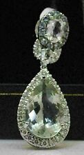 LOVELY 18K WHITE GOLD PENDANT WITH PRASIOLITE, SAPPHIRE, AND AMETHYST! #T38