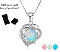 925 sterling silver white/blue/pink fire opal double heart pendant necklace