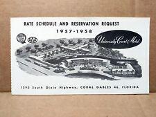 1957 University Court Motel Rate Brochure Coral Gables Florida FL Hotel Travel