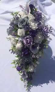 Wedding Flowers Shower Bouquet Package Grey & Iced Lilac & Lily's & Purple Gyp