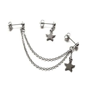Helix Cartilage to Lobe Star Chain Earring Stainless Steel Double Piercing
