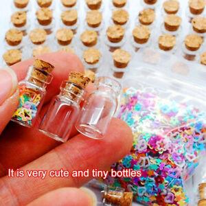 100 CORK STOPPER GLASS VIALS Perfume EMPTY Wishing Mini Bottle NECKLACE PENDANT