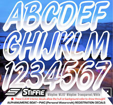 STIFFIE Whipline WL117 Boat PWC Numbers Decal Registration Transparent White