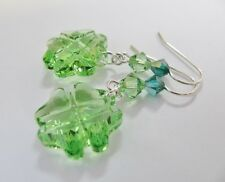 4 Leaf Clover Earrings made with Swarovski Peridot & Solid 925 Sterling Silver