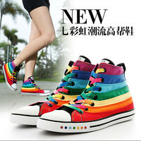 2017 Women High Top Rainbow Color Canvas Trainers Casual Sports Sneakers Shoes