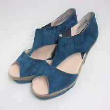 Maypol Anthropologie Teal Suede Jute Wedge Heel T-Strap Platform Shoe Size 38