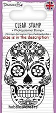DOVECRAFT SMALL CLEAR CLING STAMPS - DCSTP105 - ORNATE SKULL & ROSE