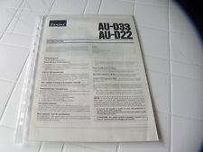 Sansui AU-D33 / AU-D22 Owner's Manual  Operating Instructions Istruzioni New
