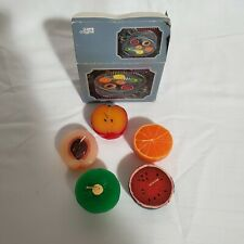 Vintage Set of 5 Floating Candles Fruit Shaped Giftco.  One missing from box.