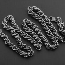"Mens Rope Chain 24"" 7mm Twist 18K Gold Sterling Silver Gun Metal Boys"