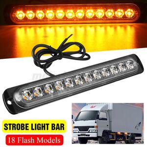 12 LED Strobe Light Bar Car Truck Hazard Beacon Flash Warning Emergency Amber