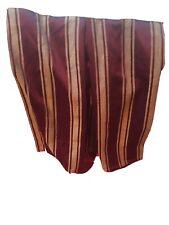"Queen Bed Skirt Dust Ruffle Burgundy/Tan Stripe Box Pleat 14.5"" Drop EUC"