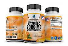 Vitamin C 2000mg & Zinc 40mg Per Serving - 120 Vegan Capsules