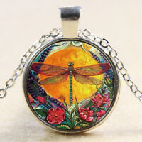 Charm Colorful Dragonfly Cabochon Tibetan silver Glass Chain Pendant Necklace