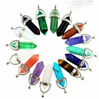 New Natural Quartz Crystal Healing Point Chakra Cut Gemstone Pendant Necklace