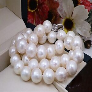 11-12mm natural white south sea pearl necklace 16 inch oversized AAA+ Chain