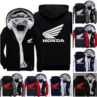 Hot New white Honda Red Honda Zipper Hoodie Winter Coat Fleece Unisex Jacket NEW