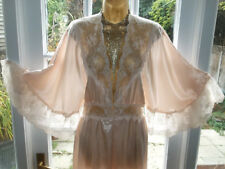 Stunning Vintage David Nieper Liquid Satin Lacy Night Robe Gown Uk18 Tall Girl