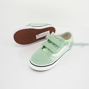 No Box Vans Toddler Old Skool V Shoes Canvas Suede Green Ash True White Size 10