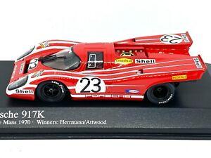 1:43 scale Minichamps Porsche 917K Sports Car - 1970 Le Mans 24 Hours Winners